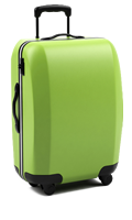Green vertical standing travel suitcase with extended handle